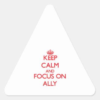 Guarde la calma y el foco en aliado pegatina triangular