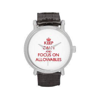 Guarde la calma y el foco en ALLOWABLES Relojes De Pulsera
