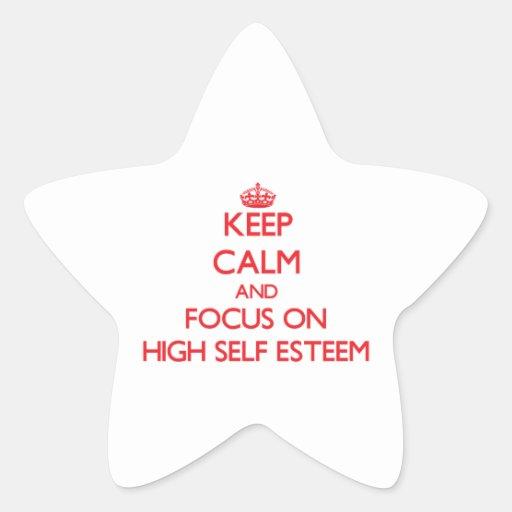 Guarde la calma y el foco en ALTO AMOR PROPIO Calcomanía Forma De Estrella Personalizada