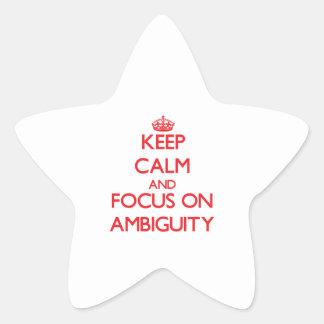 Guarde la calma y el foco en AMBIGÜEDAD Pegatinas Forma De Estrellaes Personalizadas