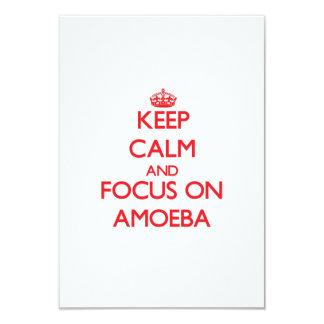 """Guarde la calma y el foco en ameba invitación 3.5"""" x 5"""""""