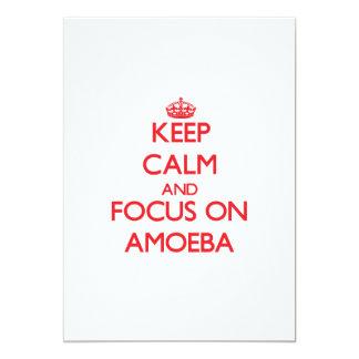 """Guarde la calma y el foco en ameba invitación 5"""" x 7"""""""