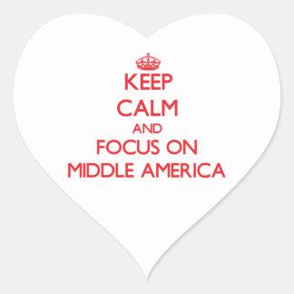 Guarde la calma y el foco en América media Colcomanias De Corazon