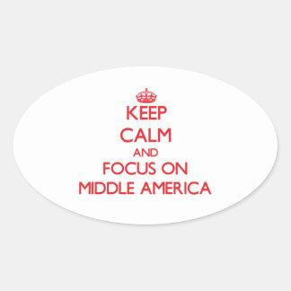 Guarde la calma y el foco en América media Pegatinas Oval Personalizadas