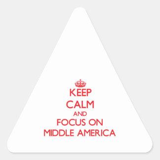 Guarde la calma y el foco en América media Calcomania De Trianguladas