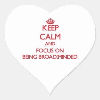 Guarde la calma y el foco en Amplio-Ser importado Pegatina En Forma De Corazón