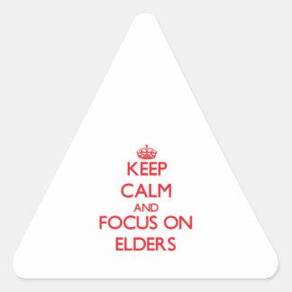 Guarde la calma y el foco en ANCIANOS Colcomanias De Trianguladas