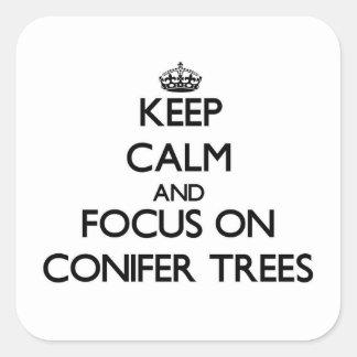 Guarde la calma y el foco en árboles de la pegatina cuadrada