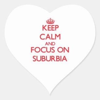 Guarde la calma y el foco en áreas residenciales calcomanía de corazón