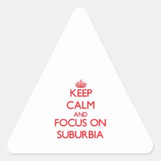 Guarde la calma y el foco en áreas residenciales calcomanías trianguladas personalizadas