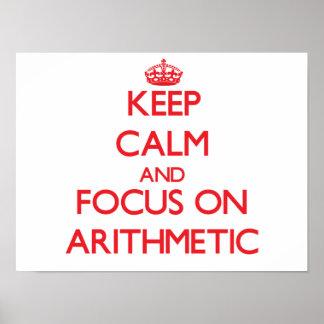 Guarde la calma y el foco en ARITMÉTICA Poster