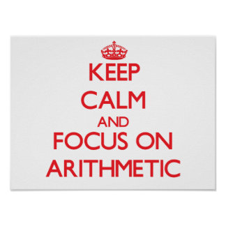 Guarde la calma y el foco en ARITMÉTICA Posters