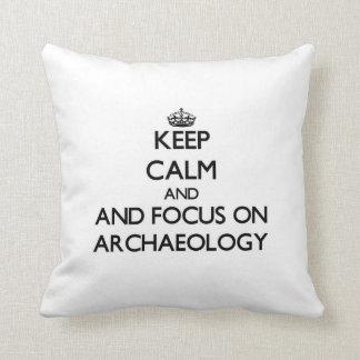 Guarde la calma y el foco en arqueología cojines