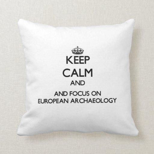 Guarde la calma y el foco en arqueología europea cojin
