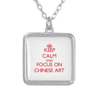Guarde la calma y el foco en arte chino grimpolas personalizadas