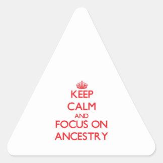 Guarde la calma y el foco en ASCENDENCIA Calcomanía De Triangulo Personalizadas