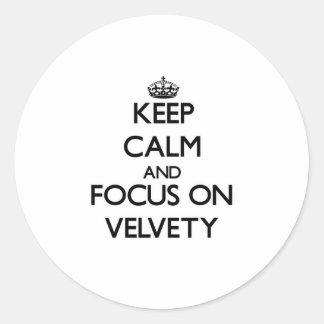 Guarde la calma y el foco en aterciopelado etiquetas redondas