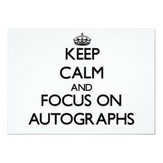 Guarde la calma y el foco en autógrafos invitación 12,7 x 17,8 cm