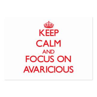 Guarde la calma y el foco en AVARICIOSO Tarjetas De Negocios