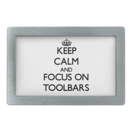 Guarde la calma y el foco en barras de herramienta hebillas de cinturón rectangulares