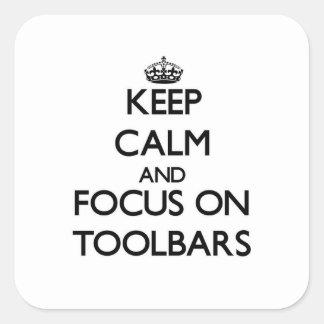 Guarde la calma y el foco en barras de calcomania cuadradas personalizadas