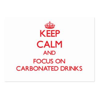 Guarde la calma y el foco en bebidas carbónicas tarjetas de visita grandes
