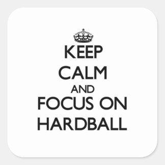 Guarde la calma y el foco en béisbol calcomanía cuadradas personalizadas