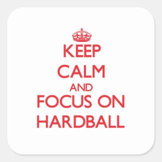 Guarde la calma y el foco en béisbol calcomanías cuadradas personalizadas