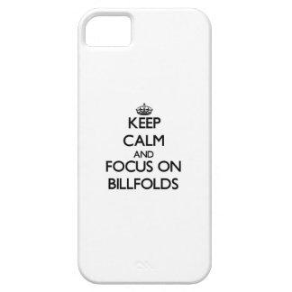 Guarde la calma y el foco en billeteros iPhone 5 cárcasa