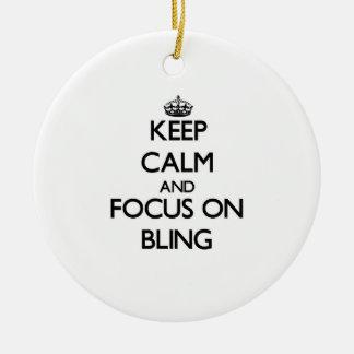 Guarde la calma y el foco en Bling Ornamentos De Navidad