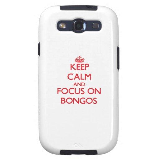 Guarde la calma y el foco en bongos samsung galaxy s3 cárcasa