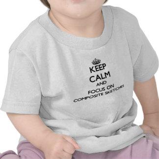 Guarde la calma y el foco en bosquejos compuestos camisetas