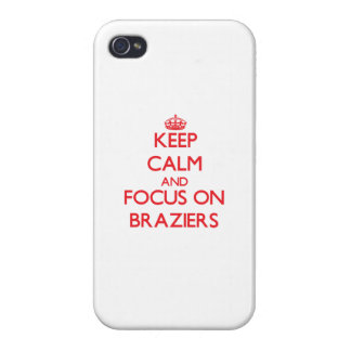 Guarde la calma y el foco en braseros iPhone 4/4S carcasa