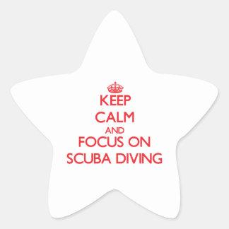 Guarde la calma y el foco en buceo con escafandra calcomanía forma de estrella personalizada