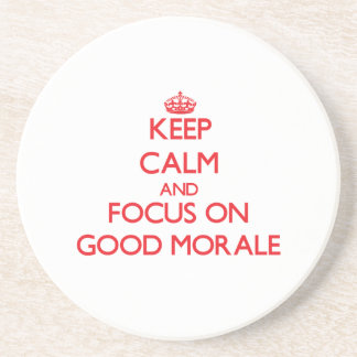 Guarde la calma y el foco en buena moral posavasos cerveza