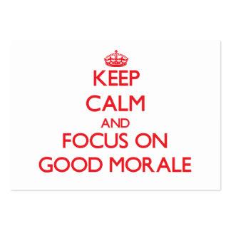 Guarde la calma y el foco en buena moral tarjetas de visita grandes