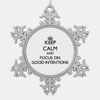 Guarde la calma y el foco en buenas intenciones adorno de peltre en forma de copo de nieve