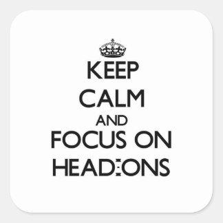 Guarde la calma y el foco en Cabeza-ONS Calcomania Cuadradas
