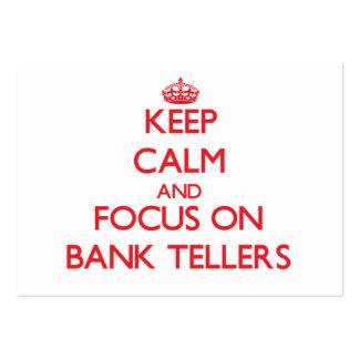 Guarde la calma y el foco en cajas de banco tarjetas de visita grandes