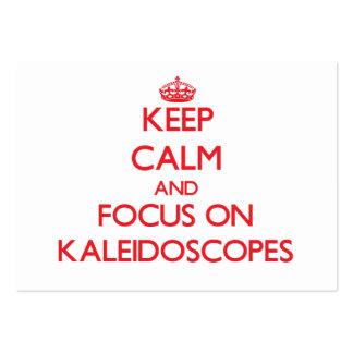 Guarde la calma y el foco en caleidoscopios plantilla de tarjeta de visita