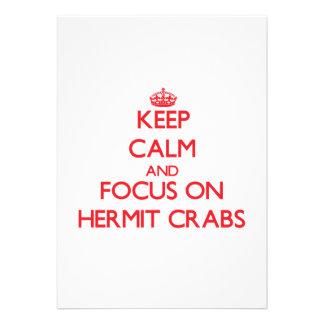 Guarde la calma y el foco en cangrejos de ermitaño comunicados personales