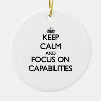Guarde la calma y el foco en capacidades adornos