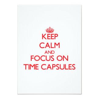 """Guarde la calma y el foco en cápsulas de tiempo invitación 5"""" x 7"""""""