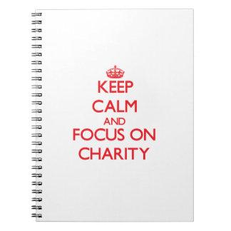Guarde la calma y el foco en caridad libros de apuntes