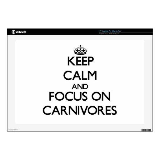 Guarde la calma y el foco en carnívoros portátil calcomanías
