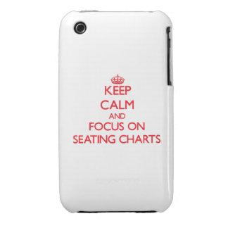 Guarde la calma y el foco en cartas del asiento iPhone 3 cárcasa