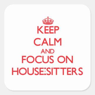 Guarde la calma y el foco en Casa-Canguros Pegatina Cuadrada