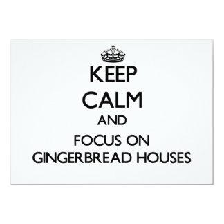 Guarde la calma y el foco en casas de pan de invitacion personalizada