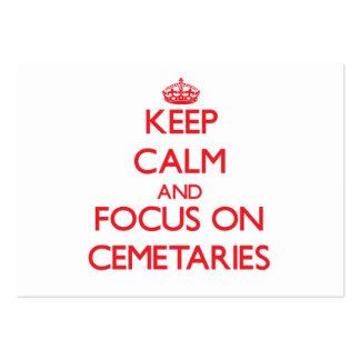 Guarde la calma y el foco en cementerios plantilla de tarjeta de negocio