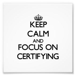 Guarde la calma y el foco en certificar cojinete